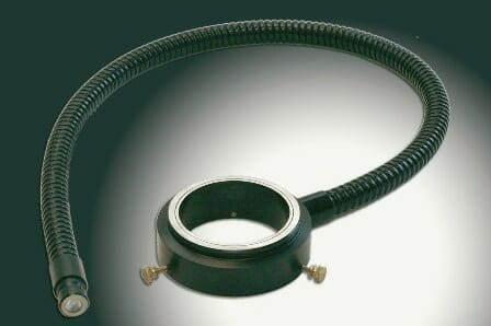 Fiber optic ring lights are used in Stereo & Video Microscopy systems, Photography, Metrology, automated inspection and placement machines.